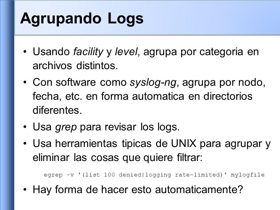 Usando facility y level, agrupa por categoria en archivos distintos. Con software como syslog-ng, agrupa por nodo, fecha, etc. en forma automatica en