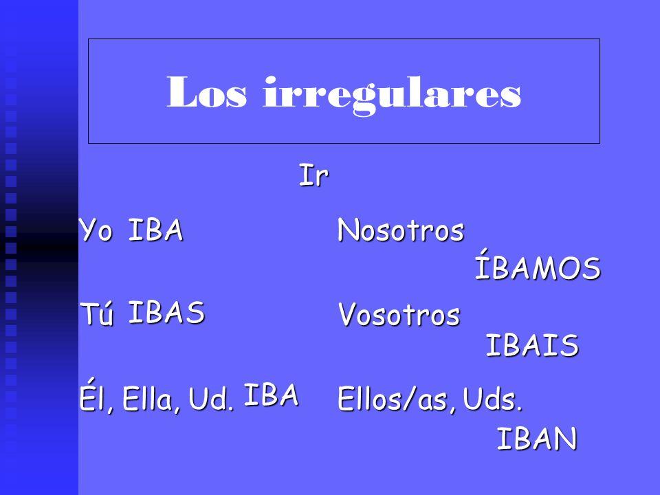 Los irregulares ¡Hay solamente TRES VERBOS irregulares en el imperfecto! IR SER VER