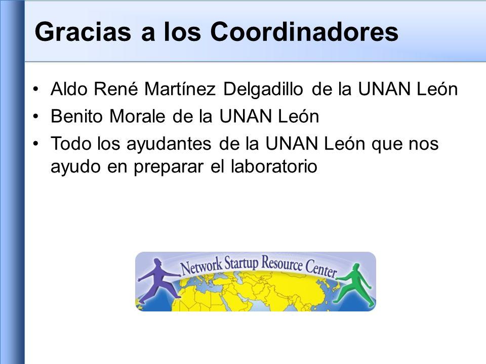 Gracias a los Coordinadores Aldo René Martínez Delgadillo de la UNAN León Benito Morale de la UNAN León Todo los ayudantes de la UNAN León que nos ayudo en preparar el laboratorio