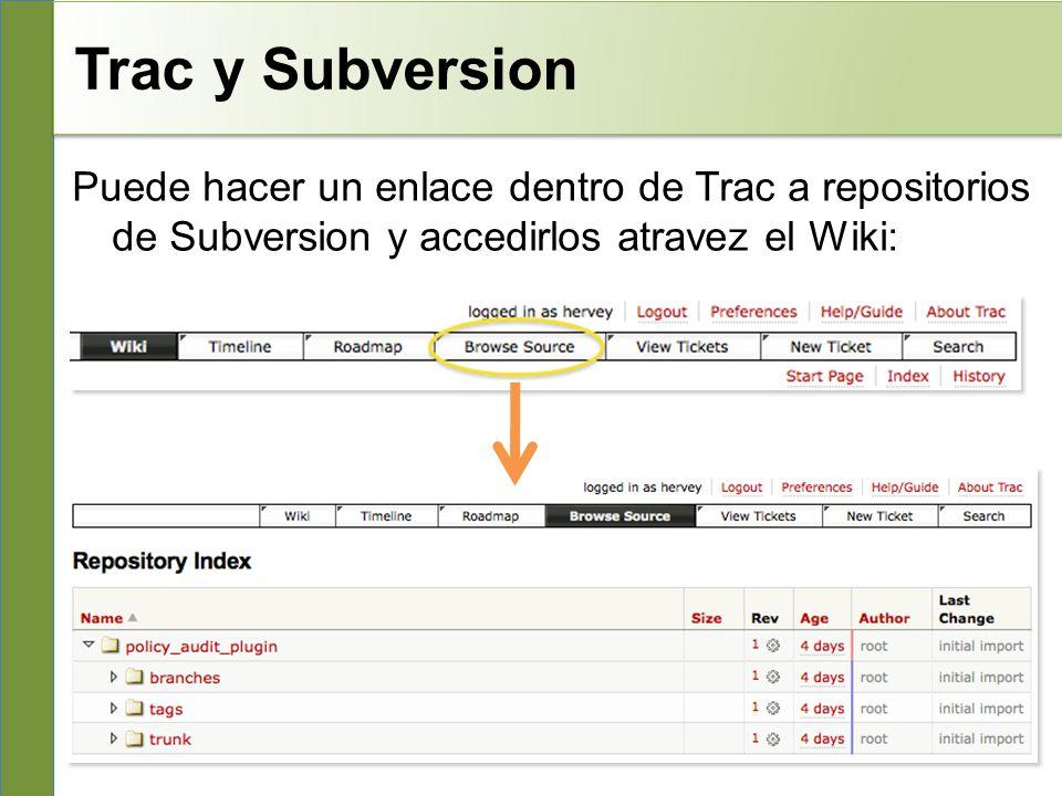 Trac y Subversion Puede hacer un enlace dentro de Trac a repositorios de Subversion y accedirlos atravez el Wiki: