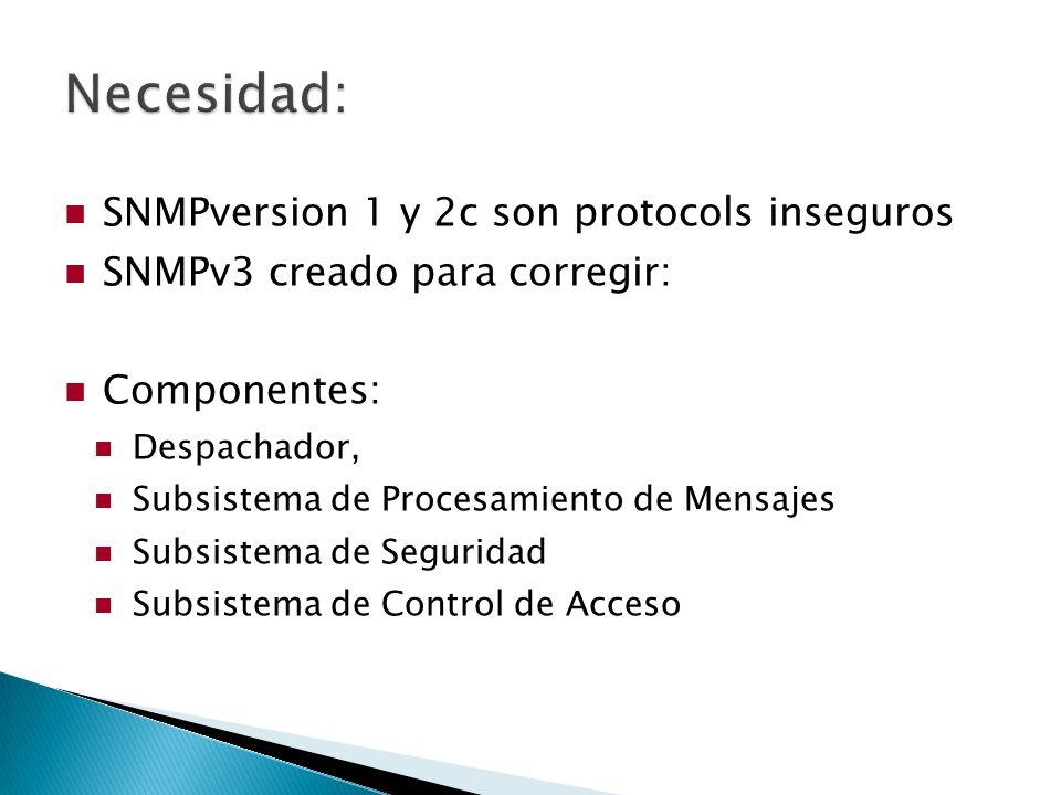 SNMPversion 1 y 2c son protocols inseguros SNMPv3 creado para corregir: Componentes: Despachador, Subsistema de Procesamiento de Mensajes Subsistema de Seguridad Subsistema de Control de Acceso
