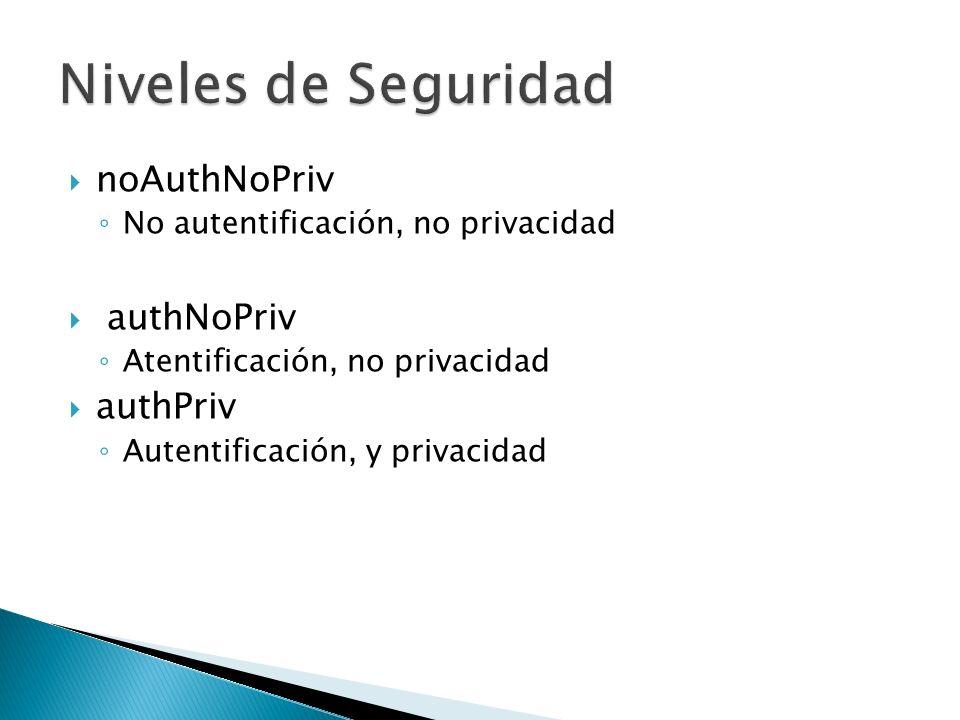 noAuthNoPriv No autentificación, no privacidad authNoPriv Atentificación, no privacidad authPriv Autentificación, y privacidad