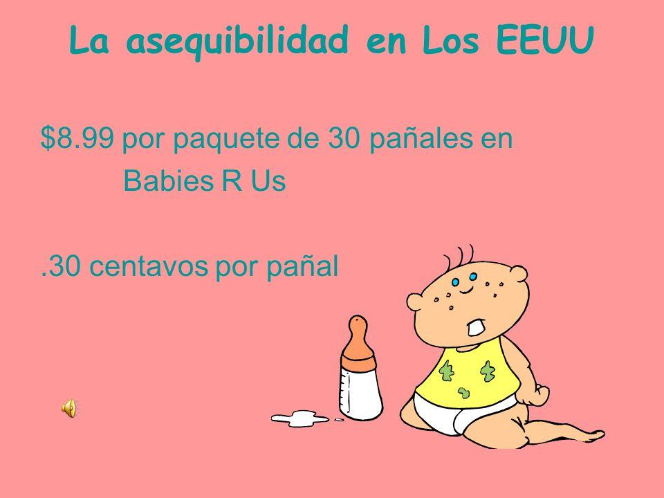 La asequibilidad en España 7.99 por paquete de 28 pañales en Babies R Us.29 por pañal