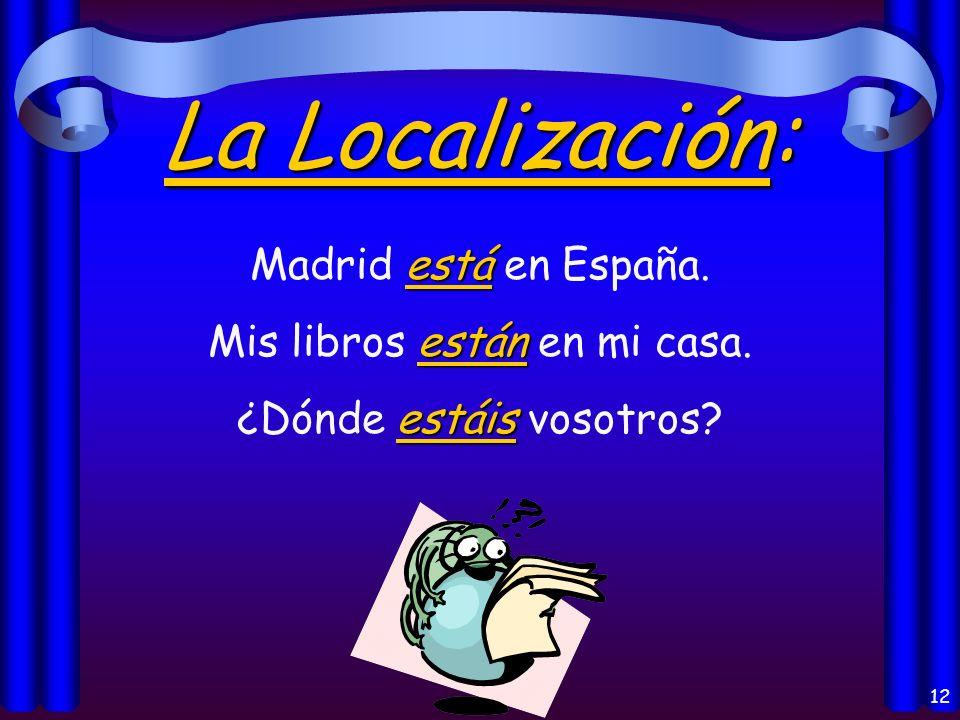 11 Los usos del verbo Estar: la localización = location las condiciones las opiniones