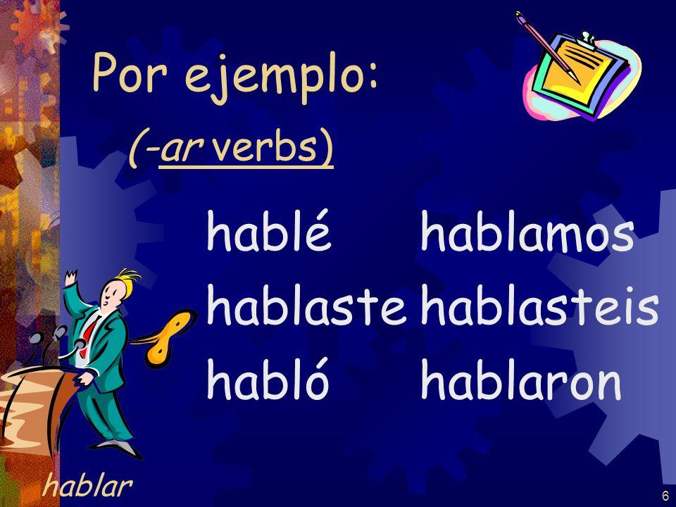 6 (-ar verbs) hablé hablaste habló hablamos hablasteis hablaron Por ejemplo: hablar