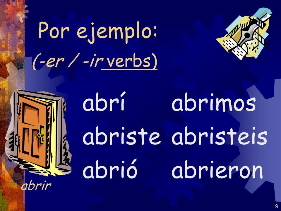 9 (-er / -ir verbs) abrí abriste abrió abrimos abristeis abrieron Por ejemplo: abrir