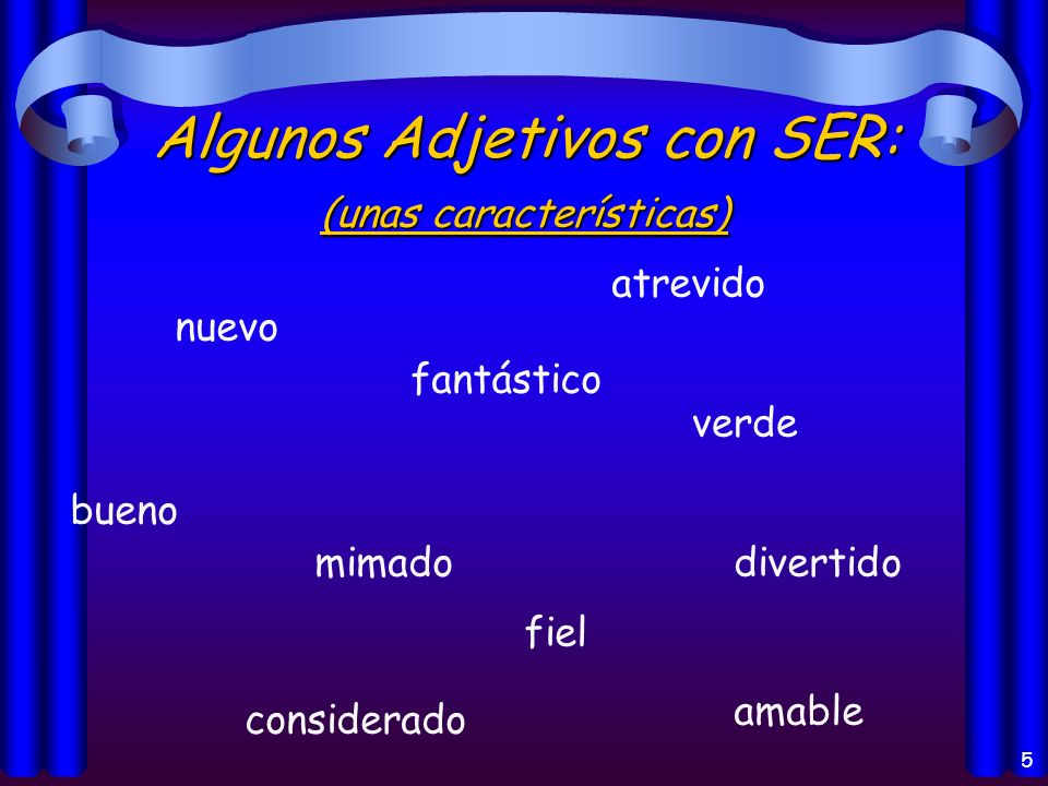 4 Los usos del verbo Ser: el origenel origen la identificaciónla identificación las característicaslas características la horala hora un eventoun even