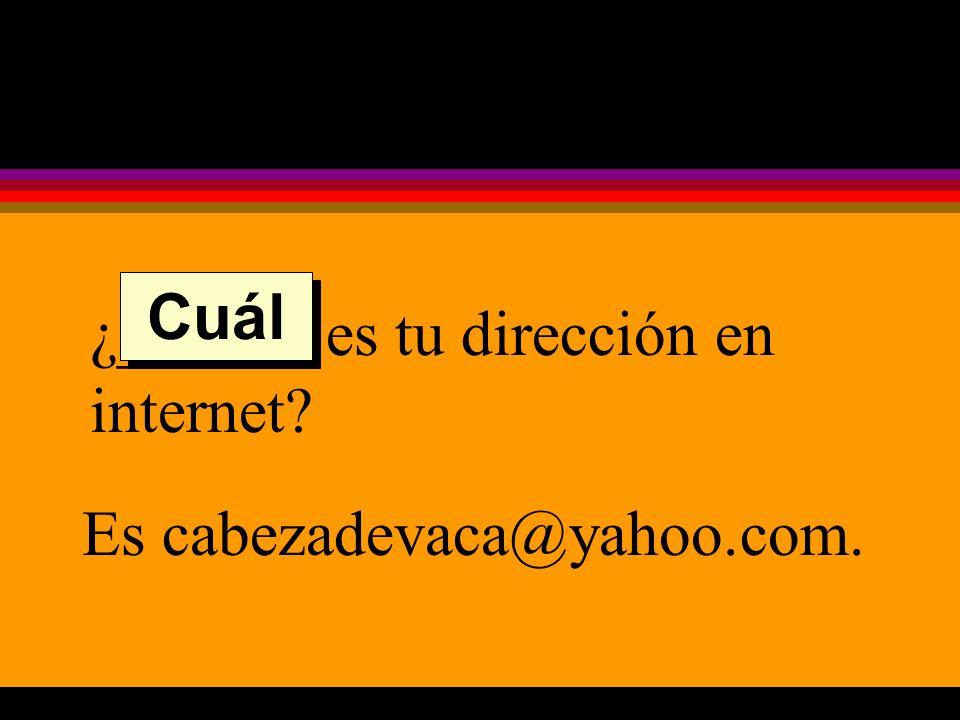 ¿______ es tu dirección en internet Es cabezadevaca@yahoo.com. Cuál