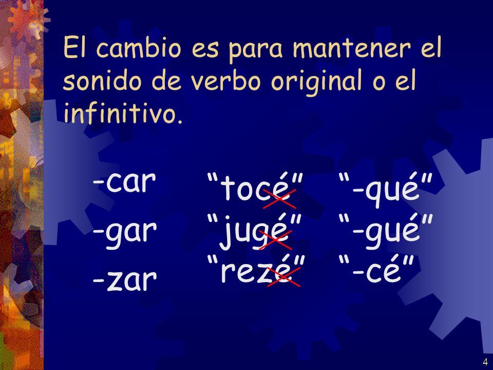 4 El cambio es para mantener el sonido de verbo original o el infinitivo.