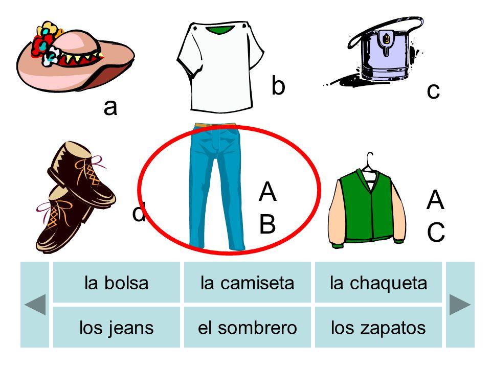 la bolsala camisetala chaqueta los jeansel sombrerolos zapatos a b c d ABAB ACAC