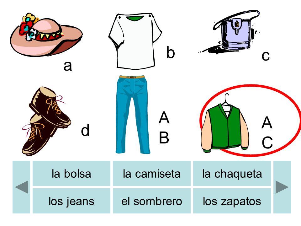 a b c d ABAB b ACAC los calcetinesla camisala falda los pantalones el reloj de pulsera el vestido