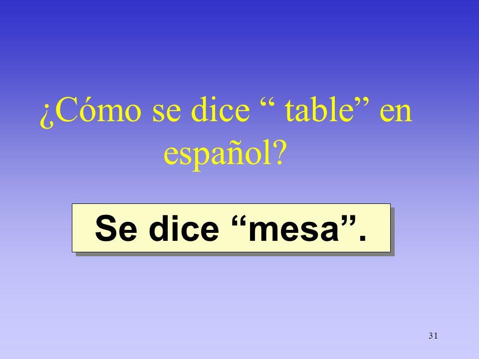 31 ¿Cómo se dice table en español? Se dice mesa.