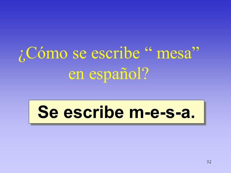 32 ¿Cómo se escribe mesa en español? Se escribe m-e-s-a.