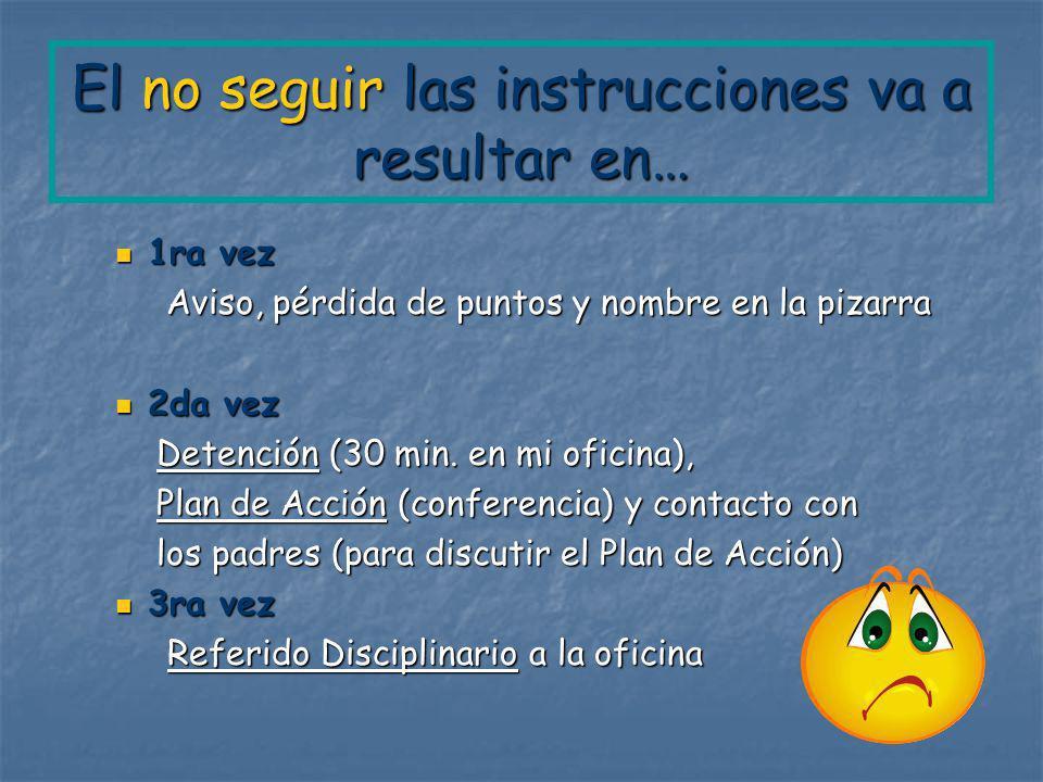 El no seguir las instrucciones va a resultar en… 1ra vez 1ra vez Aviso, pérdida de puntos y nombre en la pizarra Aviso, pérdida de puntos y nombre en