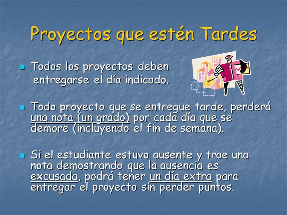 Proyectos que estén Tardes Todos los proyectos deben Todos los proyectos deben entregarse el día indicado. entregarse el día indicado. Todo proyecto q