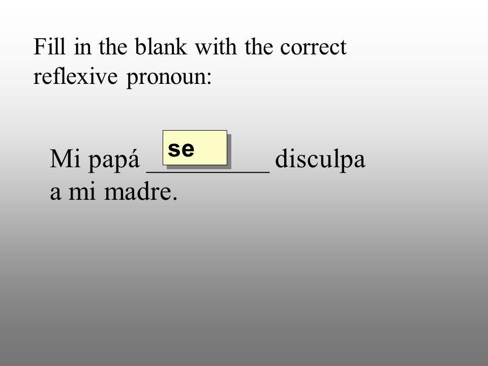 Fill in the blank with the correct reflexive pronoun: Mi papá _________ disculpa a mi madre. se