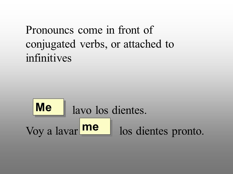 Pronouncs come in front of conjugated verbs, or attached to infinitives lavo los dientes. Voy a lavar los dientes pronto. Me me