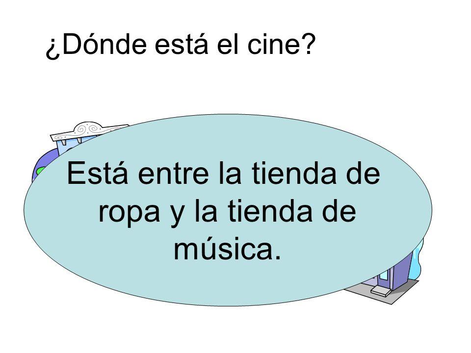 ¿Dónde está la tienda de música? Está a la derecha del cine.
