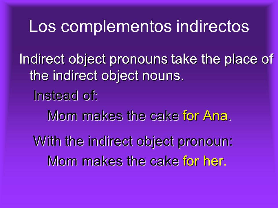 Los complementos indirectos Indirect object pronouns take the place of the indirect object nouns.