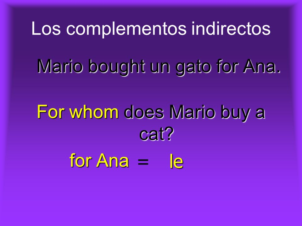 Los complementos indirectos Mario bought un gato for Ana.