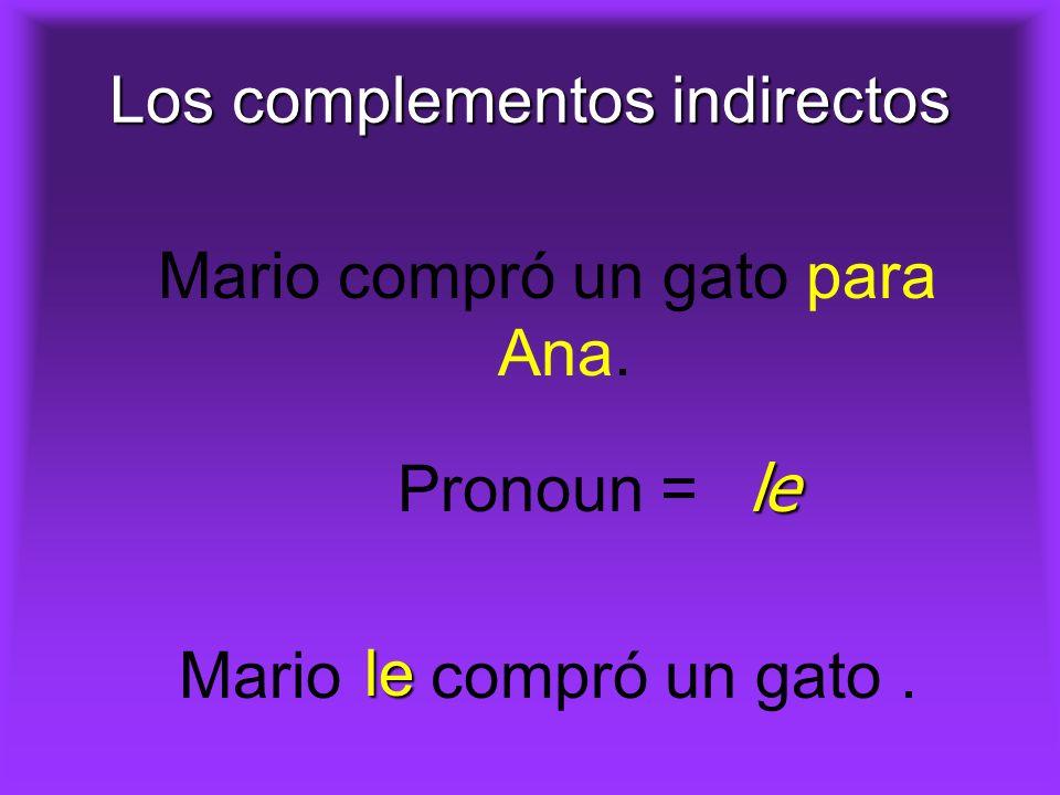 Los complementos indirectos Mario compró un gato para Ana. Pronoun = Mario compró un gato. le le