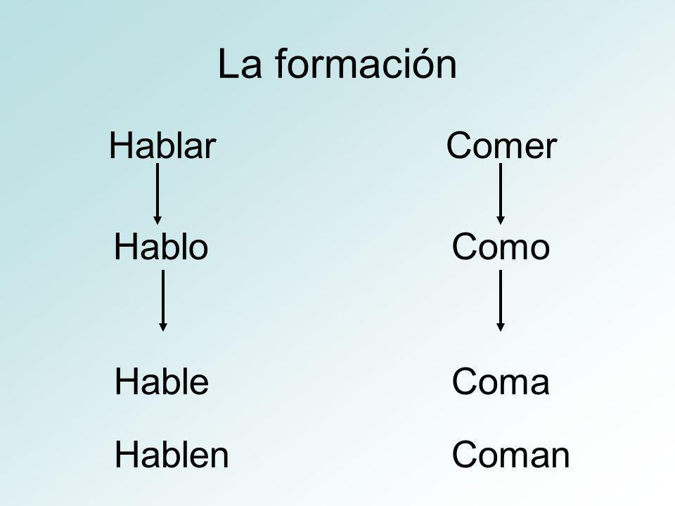 La formación HablarComer HabloComo HableComa HablenComan