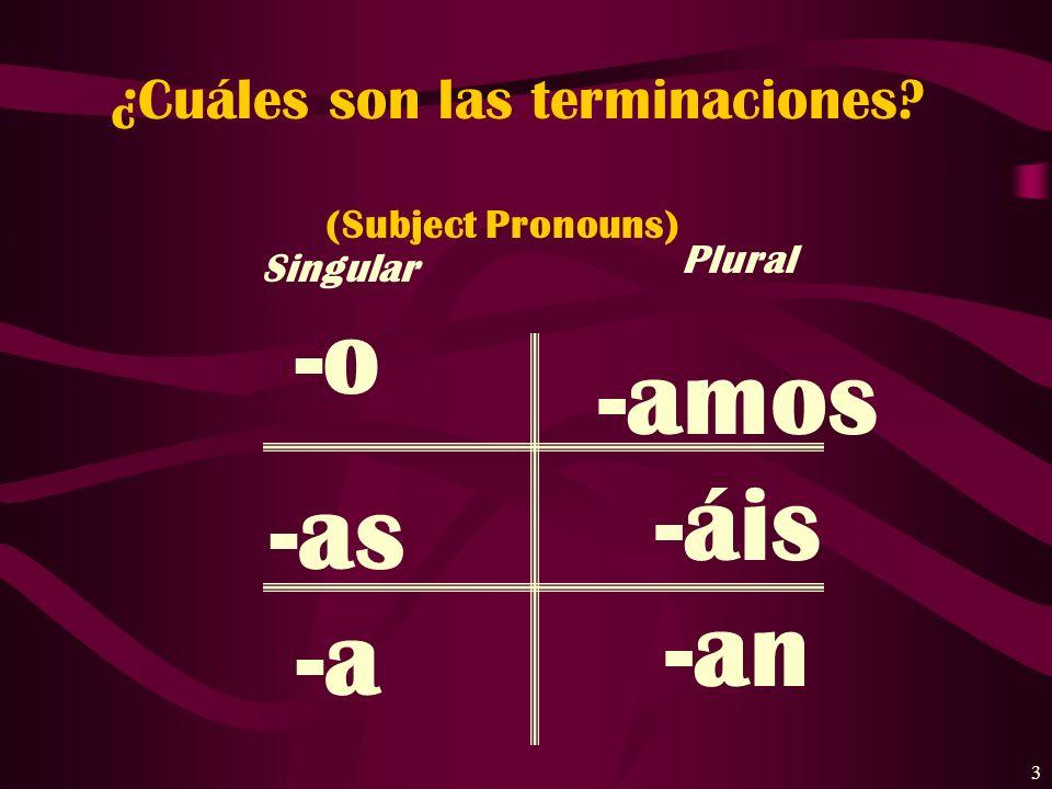 3 ¿Cuáles son las terminaciones? (Subject Pronouns) Singular -o -as -a Plural -amos -áis -an