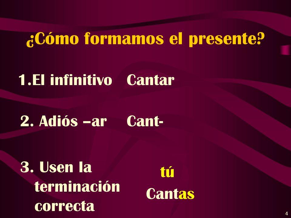4 ¿Cómo formamos el presente.1.El infinitivo Cantar 2.