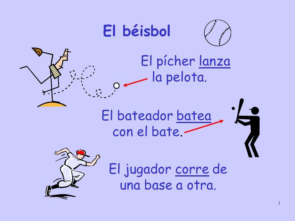 1 El béisbol El pícher lanza la pelota. El bateador batea con el bate. El jugador corre de una base a otra.