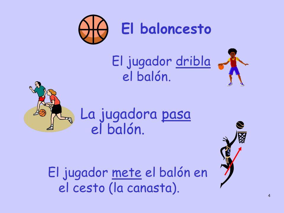 4 La jugadora pasa el balón. El baloncesto El jugador dribla el balón. El jugador mete el balón en el cesto (la canasta).