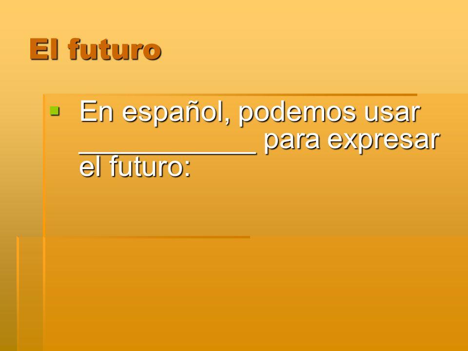 El futuro Usamos el futuro para describir una acción que nosotros: __________________________