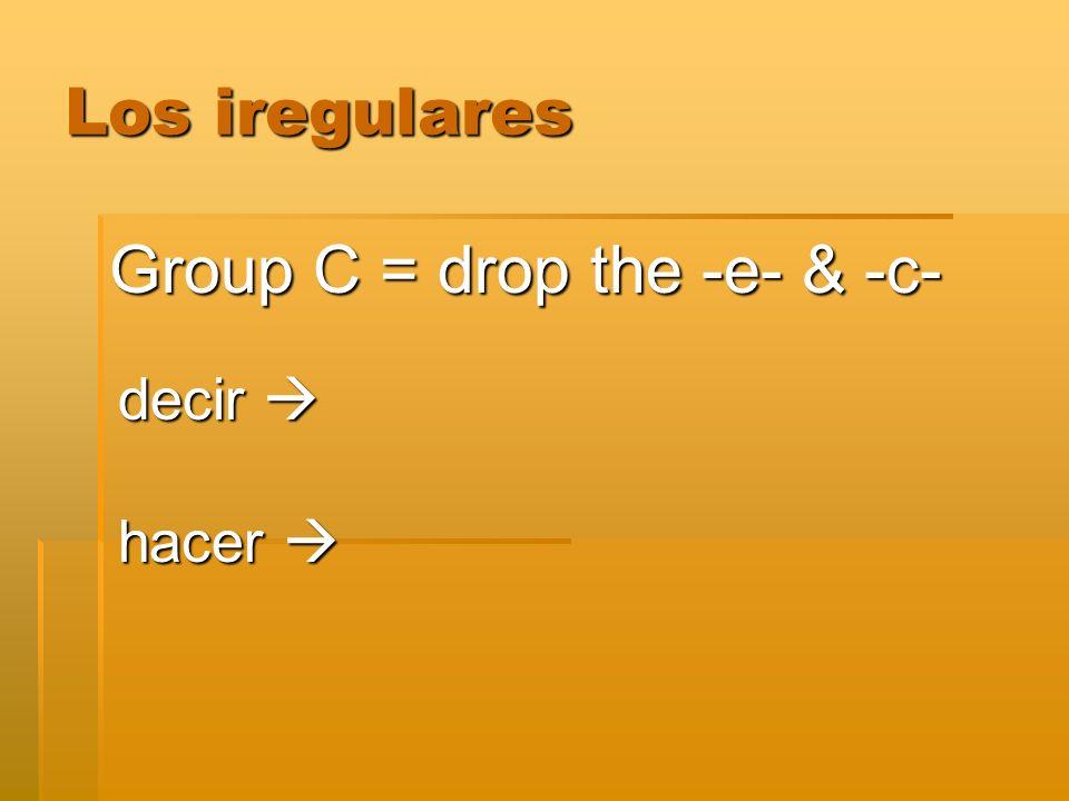 Los iregulares Group C = drop the -e- & -c- decir decir hacer hacer