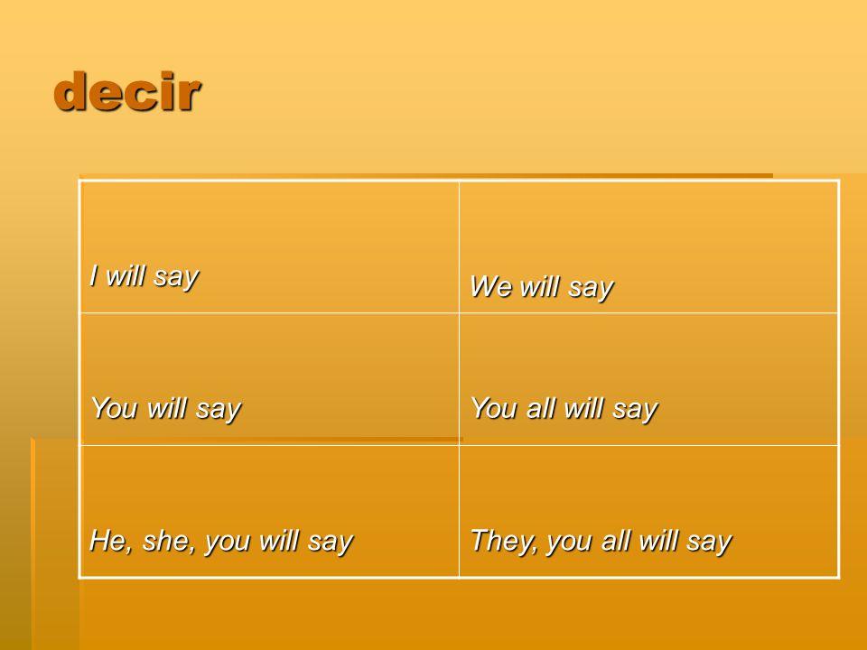 decir I will say We will say You will say You all will say He, she, you will say They, you all will say