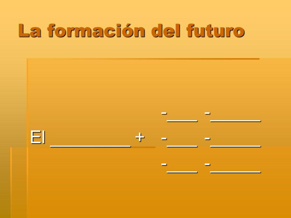 La formación del futuro -___-_____ -___-_____ El ________ + -___-_____ -___-_____ -___-_____