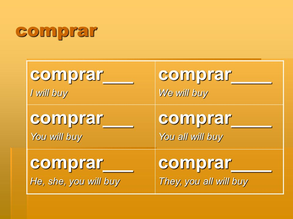 comprar comprar___ I will buy comprar____ We will buy comprar___ You will buy comprar____ You all will buy comprar___ He, she, you will buy comprar___