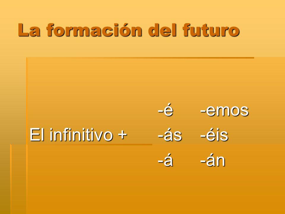 La formación del futuro -é-emos -é-emos El infinitivo + -ás-éis -á-án -á-án