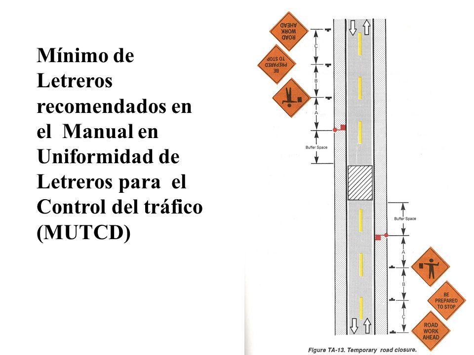Mínimo de Letreros recomendados en el Manual en Uniformidad de Letreros para el Control del tráfico (MUTCD)