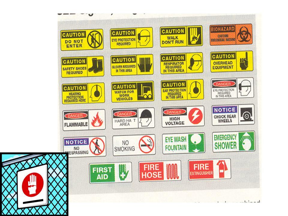 Señales y Símbolos Visibles todo el tiempo mientras se esté haciendo trabajo Remuévalas o cúbralas prontamente cuando el riesgo ya no existe