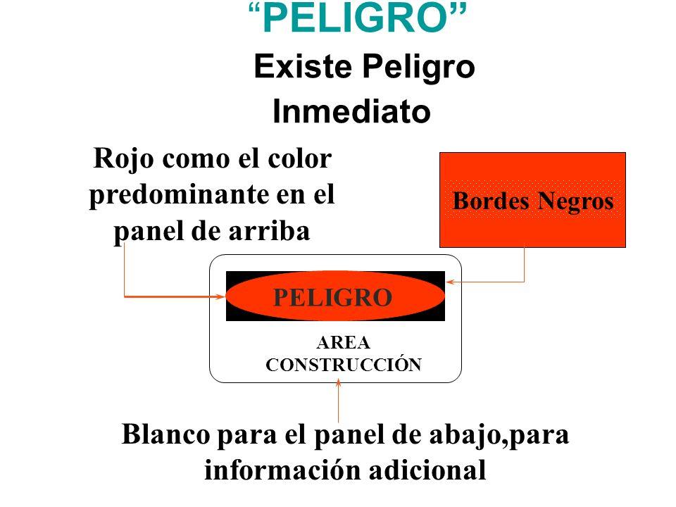 PELIGRO ( Existe Peligro Inmediato ) PELIGRO AREA CONSTRUCCIÓN Rojo como el color predominante en el panel de arriba Bordes Negros Blanco para el pane