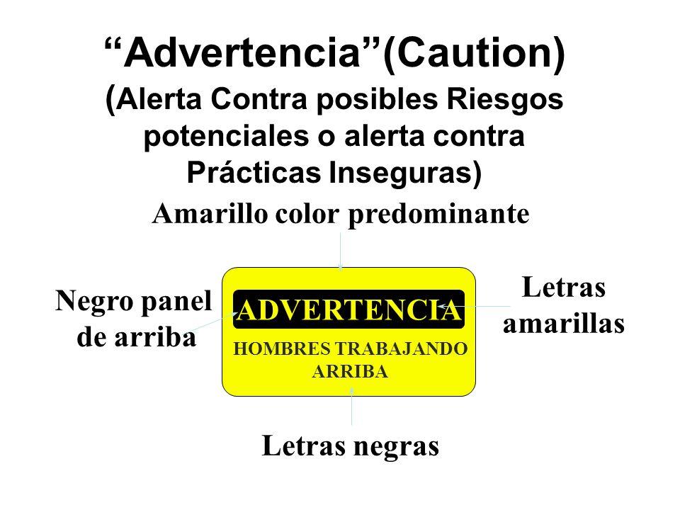 Advertencia(Caution) ( Alerta Contra posibles Riesgos potenciales o alerta contra Prácticas Inseguras) ADVERTENCIA HOMBRES TRABAJANDO ARRIBA Amarillo