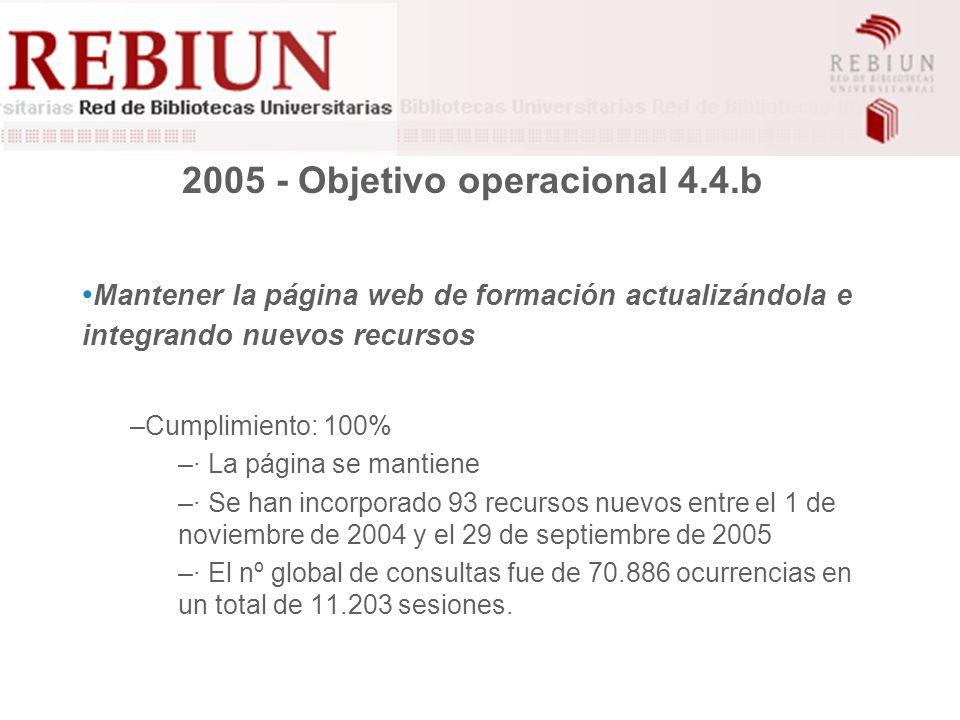 2005 - Objetivo operacional 4.4.b Mantener la página web de formación actualizándola e integrando nuevos recursos –Cumplimiento: 100% –· La página se mantiene –· Se han incorporado 93 recursos nuevos entre el 1 de noviembre de 2004 y el 29 de septiembre de 2005 –· El nº global de consultas fue de 70.886 ocurrencias en un total de 11.203 sesiones.