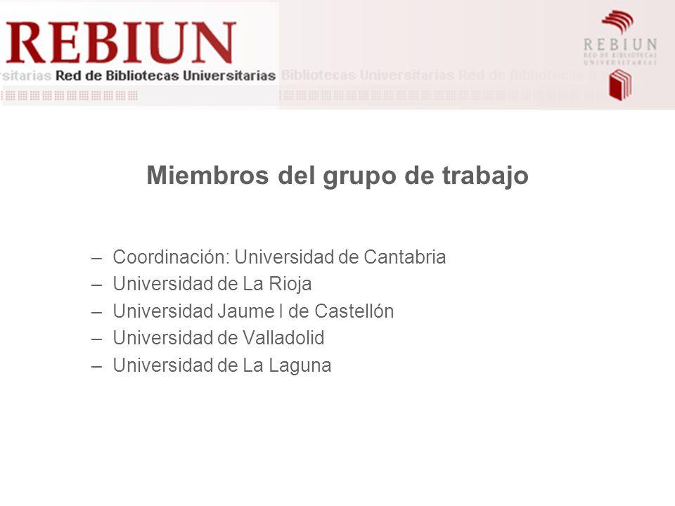 Miembros del grupo de trabajo –Coordinación: Universidad de Cantabria –Universidad de La Rioja –Universidad Jaume I de Castellón –Universidad de Valladolid –Universidad de La Laguna