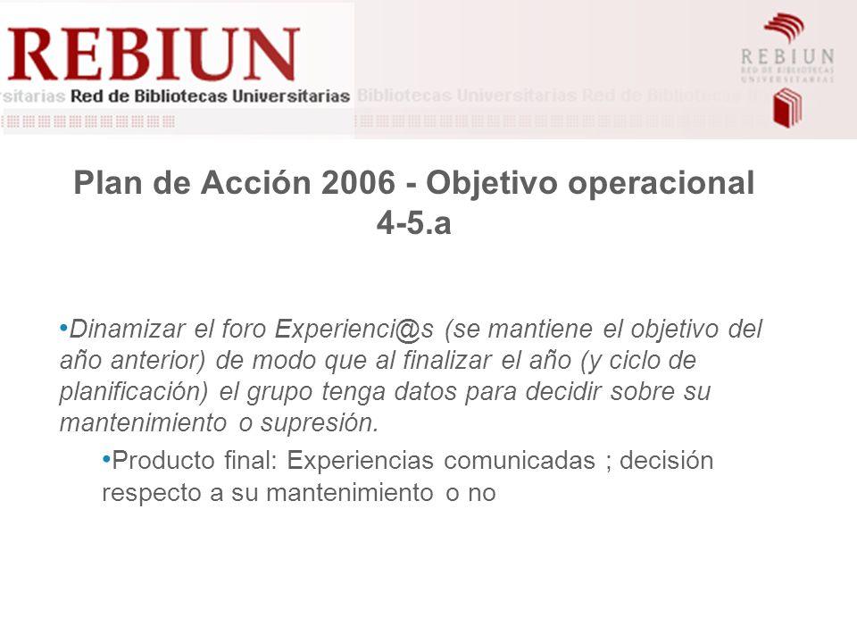 Plan de Acción 2006 - Objetivo operacional 4-5.a Dinamizar el foro Experienci@s (se mantiene el objetivo del año anterior) de modo que al finalizar el año (y ciclo de planificación) el grupo tenga datos para decidir sobre su mantenimiento o supresión.