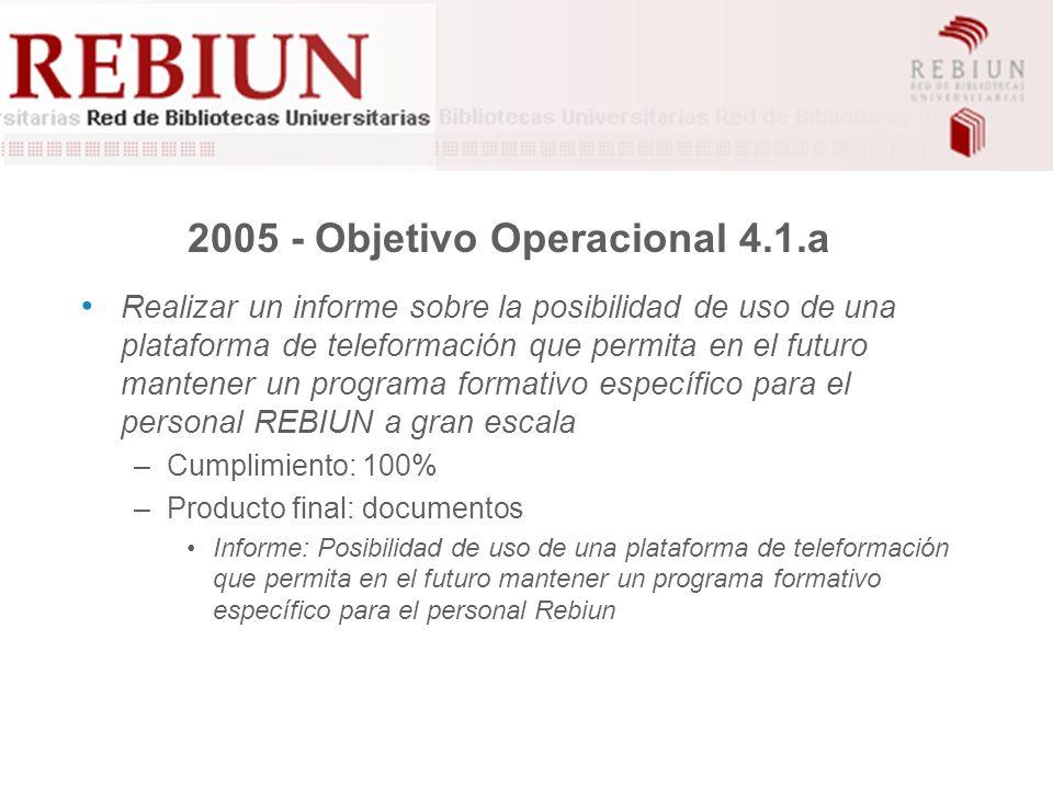 2005 - Objetivo operacional 4.4.a Realizar gestiones encaminadas a la búsqueda de financiación para la formación del personal –Grado de cumplimiento: 0%.