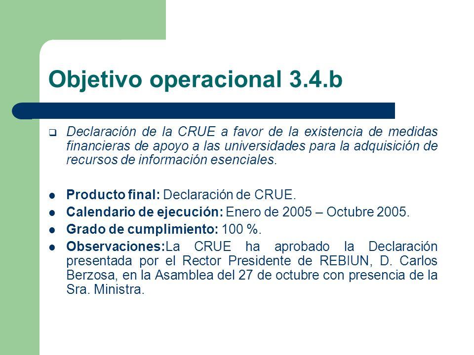 Objetivo operacional 3.4.b Declaración de la CRUE a favor de la existencia de medidas financieras de apoyo a las universidades para la adquisición de recursos de información esenciales.
