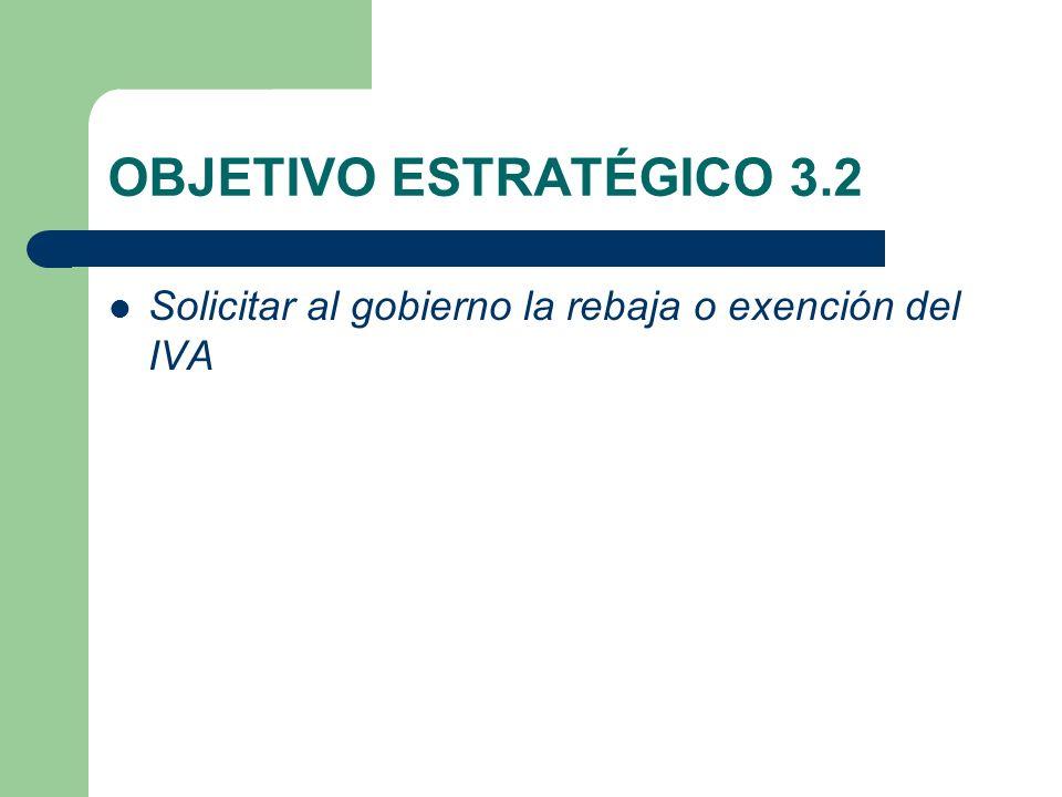 OBJETIVO ESTRATÉGICO 3.2 Solicitar al gobierno la rebaja o exención del IVA