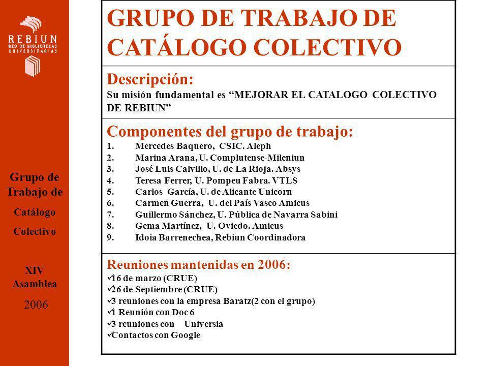 GRUPO DE TRABAJO DE CATÁLOGO COLECTIVO Descripción: Su misión fundamental es MEJORAR EL CATALOGO COLECTIVO DE REBIUN Componentes del grupo de trabajo: 1.Mercedes Baquero, CSIC.
