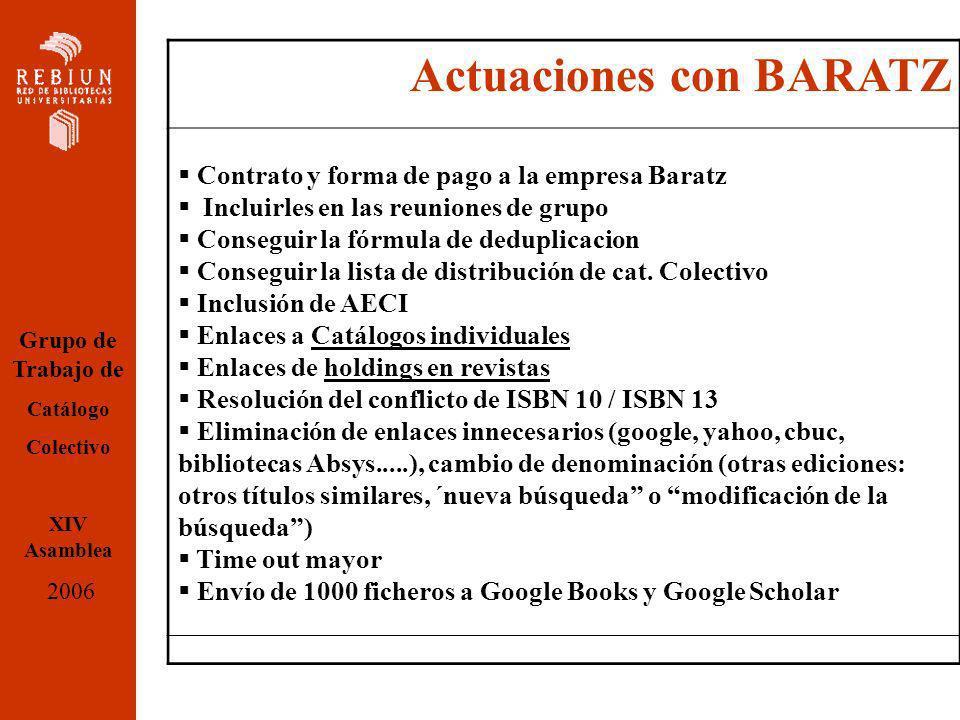 Actuaciones con BARATZ Contrato y forma de pago a la empresa Baratz Incluirles en las reuniones de grupo Conseguir la fórmula de deduplicacion Conseguir la lista de distribución de cat.
