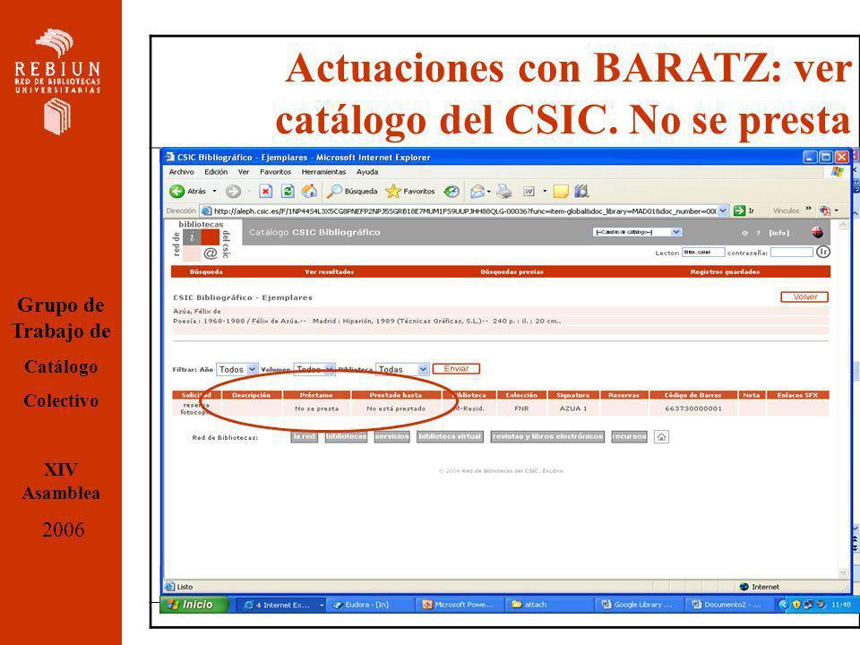 Actuaciones con BARATZ: ver catálogo del CSIC.