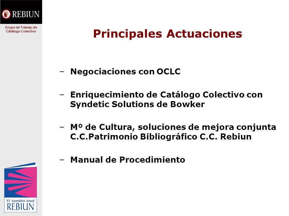 Principales Actuaciones –Negociaciones con OCLC –Enriquecimiento de Catálogo Colectivo con Syndetic Solutions de Bowker –Mº de Cultura, soluciones de